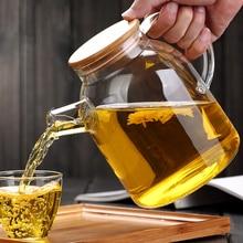Alta Capacidade Jarro De Vidro Jarro de Água Artesanato Chinês Flor Bule de chá Filtro Coador De Aço Inoxidável Resistente Ao Calor Tampa De Bambu(China (Mainland))