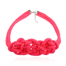 Fashion Hand-woven Fluorescent Color Statement Necklace for Women Summer Style Chinese Knot Decorative Pattern Choker hairpin lace entry tutorial crochet hairpin pattern style pattern daquan hand knitted practical stitch technique woven books