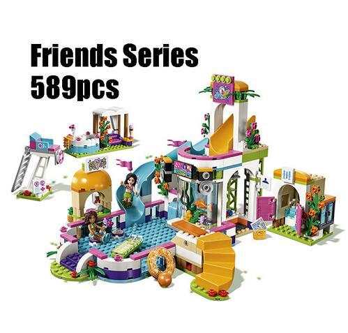 CX Compatible with Lego Friends 41313 01013 589pcs building blocks The Heartlake Summer Pool Bricks figure toys for children 589pcs diy girl friends the heartlake summer pool compatible with legoing figures building blocks bricks toys for children kid