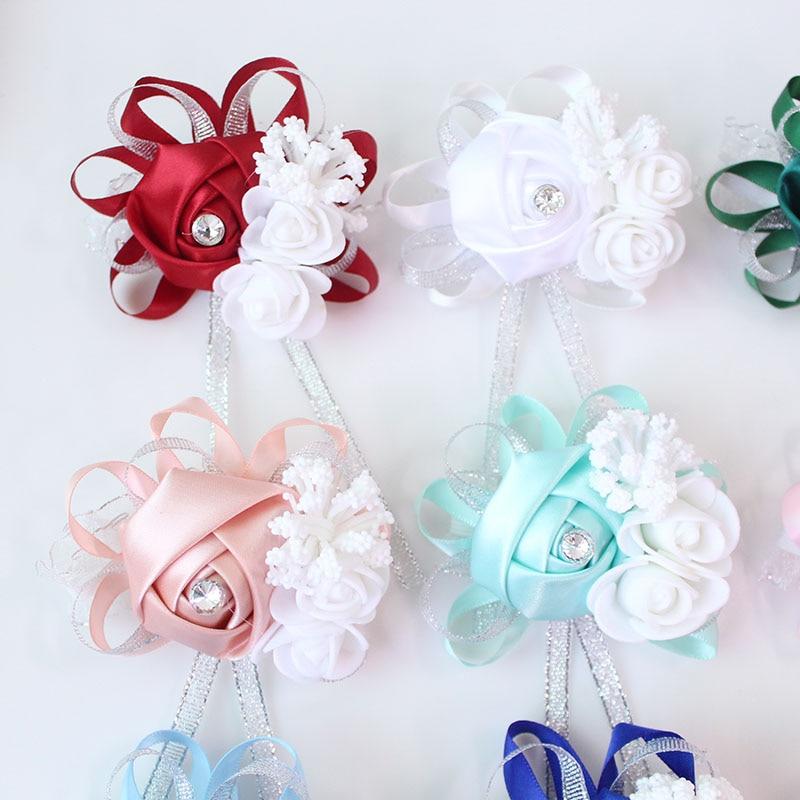 wedding wrist corsage Bracelet bridesmaid rose silk white pink marriage wrist corsage  (227)