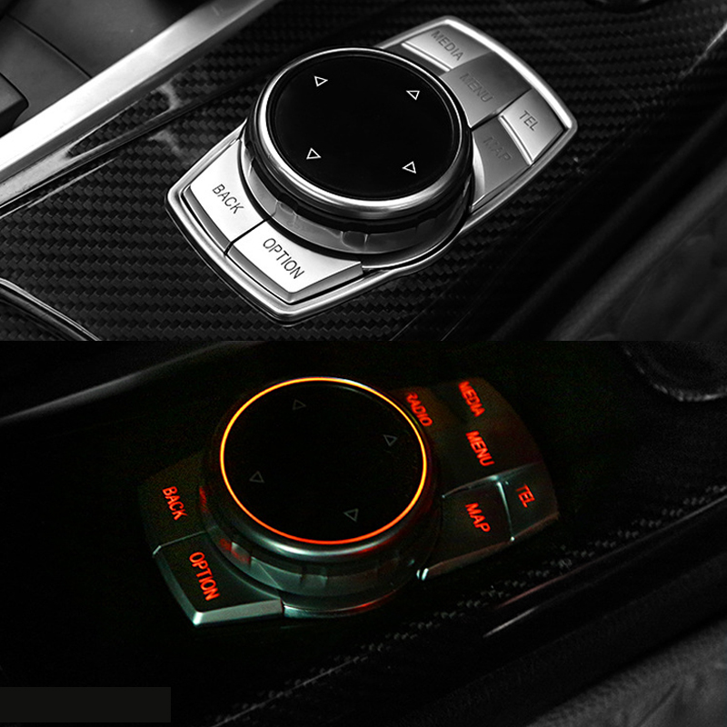 Car Chorme Styling ABS Multimedia Button Cover For BMW 3 5 X1 X3 X4 X5 X6 F10 F30 F31 F15 F16 F25 F26 F48 Car cover Accessories