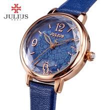 Julius Relojes de Cuarzo de Moda Diseñador de Las Mujeres de Múltiples facetas Espejo Reloj de Señoras Del Reloj de Oro Rosa Casual Reloj de Cuero JA-929