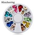 36pcs/set Glitter Nail Art Rhinestones 3D Design Mix Colors Acrylic UV Gel Nail Tips Gems Decoration DIY Nail Accessories 5X8mm
