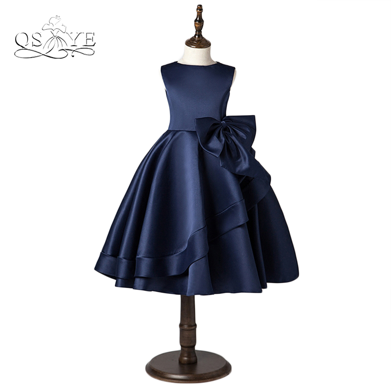 Navy Blue Little   Flower     Girl     Dresses   Real Photo Puffy Ball Gown O-Neck Satin with Bow   Girls   Prom Pageant Gown