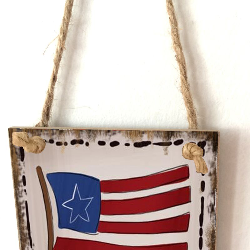 Image 4 - Vintage Wooden Hanging Plaque Land Of The Free Because Of The Brave Sign Board Wall Door Home Decoration Independence Day Party-in Plaques & Signs from Home & Garden