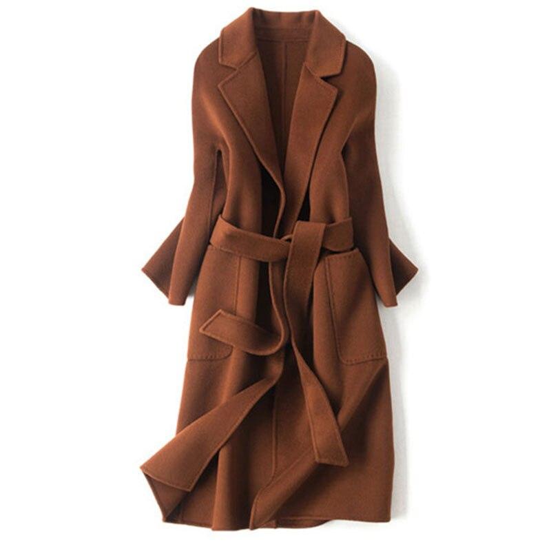 Новинки для женщин Двусторонняя шерстяное пальто осень зима High End Длинные кашемировый пиджак женский пояс тонкий теплая верхняя одежда x287