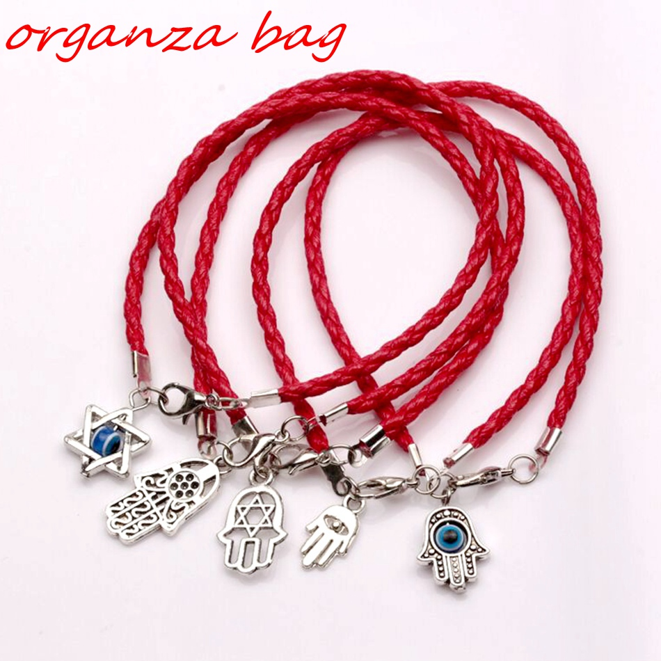 Hot ! 5pcs Mixed Kabbalah Hamsa Hand Charms Red Leatheroid Braided String Bracelets free shipping za158
