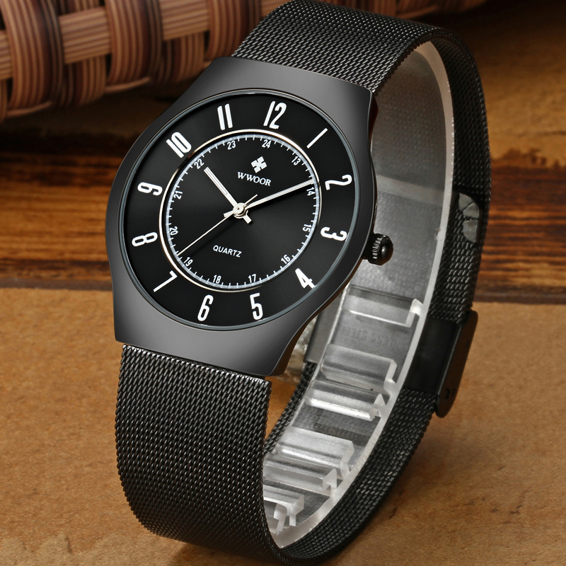 Image 4 - WWOOR Top Brand Luxury Men Ultra Thin Waterproof Sports Watches Men's Quartz Wrist Watch Male Slim Black Clock relogio masculino-in Quartz Watches from Watches