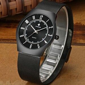 Image 4 - WWOOR トップブランドの高級メンズ超薄型防水スポーツ腕時計メンズクォーツ腕時計男性スリム黒時計レロジオ masculino
