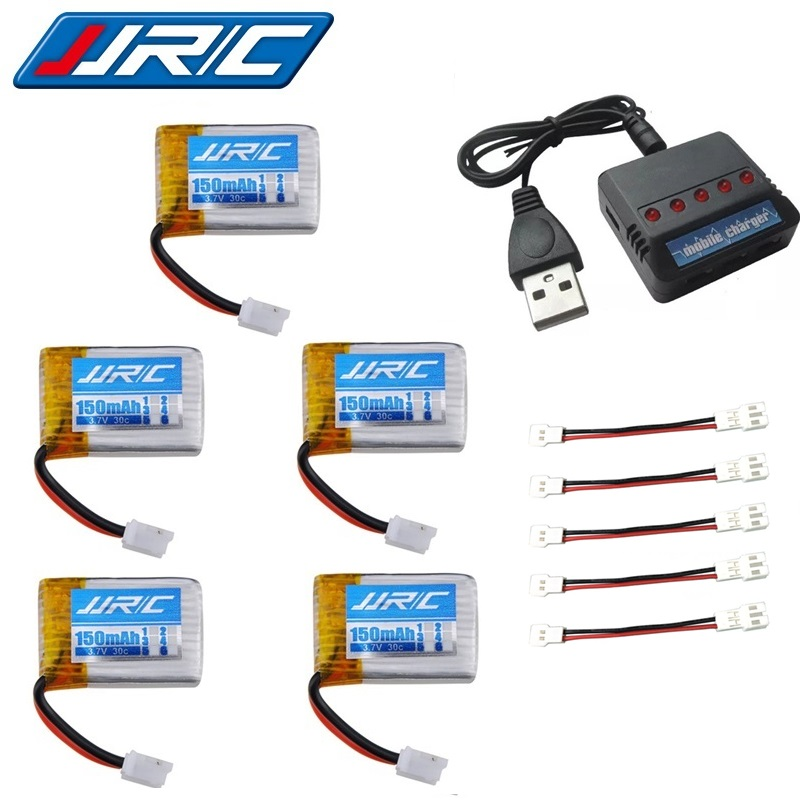 JJRC H36 battery charger sets 3.7V 150mAh 30c For Eachine E010 E011 E012 E013 Furibee F36 RC Quadcopter Parts 3.7v Lipo Battery 5x 3 7v 150mah 20c battery and usb cable set for jjrc h20 rc quadcopter 3 7v 150mah 20c battery rc helicopter parts
