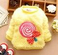 baby girls warm coat kids princess long sleeve winter lollipop fleece overcoat jacket 4p/l