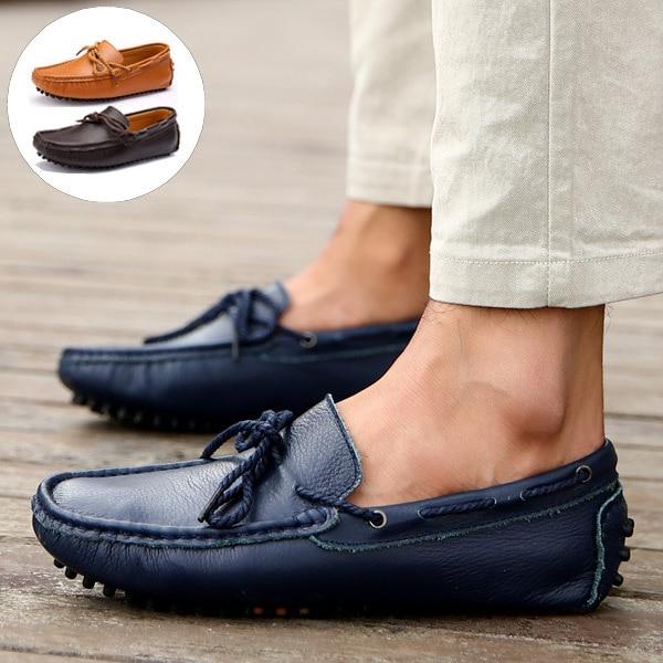 € 38.39 |Genuino de lujo de cuero hombres zapatos moda holgazanes casuales de conducción zapatos mocasines primavera verano Lace Up pisos 4 colores