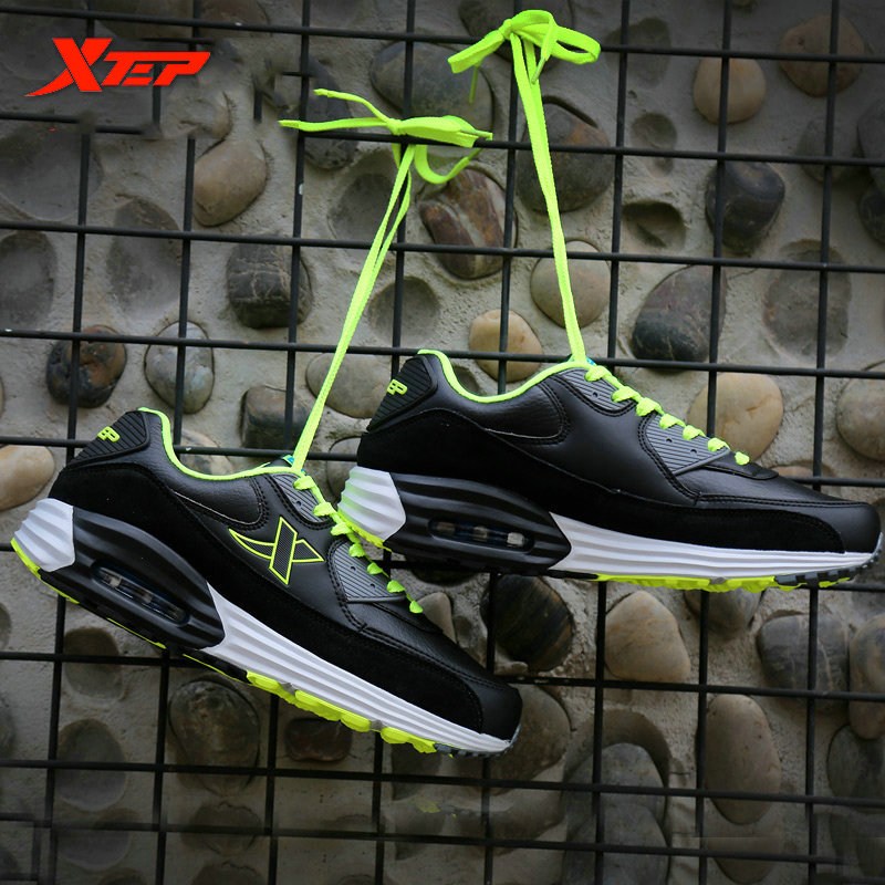 XTEP Brand Running Shoes for Men Athletic Sneakers Trainers Air Cushion Sole Damping Non-slip Men's Sports Shoes 985419325251  trainers men 2017 brand sneakers breathable running shoes outdoor blade sole sports shoes high quality non slip sneakers