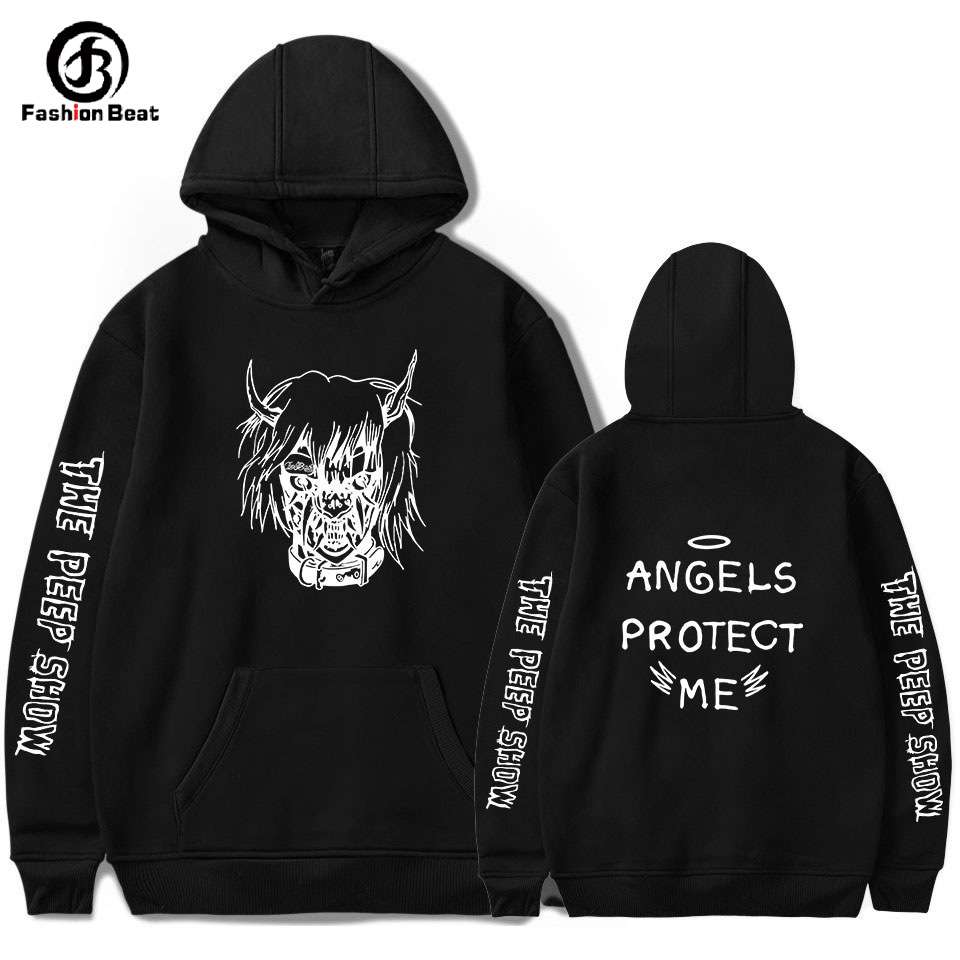 Lil Peep Hoodie The Peep Show Hoodies Angels Protect Hoody Hip Hop Clothes Gothboiclique Rap Band Jacket Men Casual Long Sleeves image