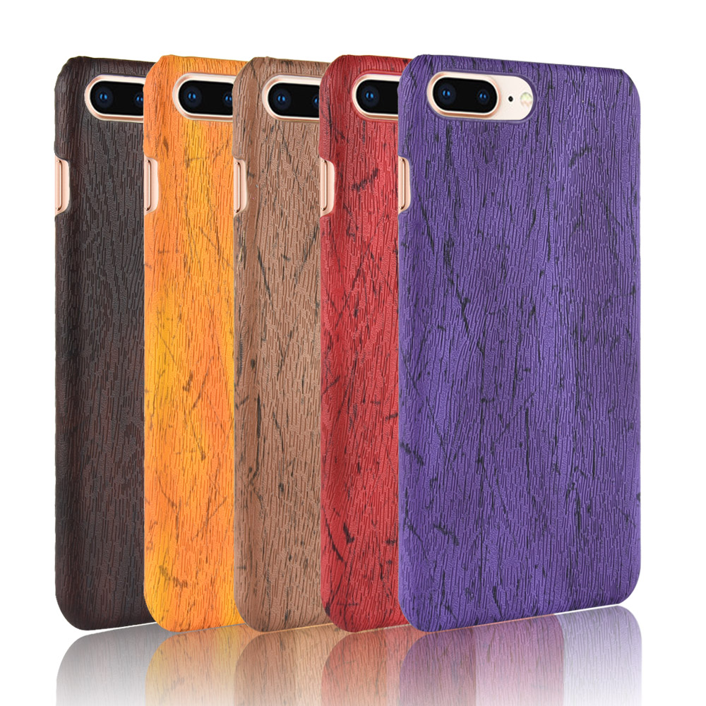For iphone 8 plus Case Hard PC+PU Leather Retro wood grain Phone 7 Cover Wood for 6 6s