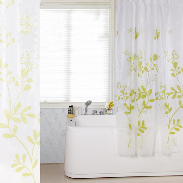 Waterproof Mildew Proof Butterfly Tree PEVA Bathroom Fabric Shower Curtain With 12 Hooks 18 X