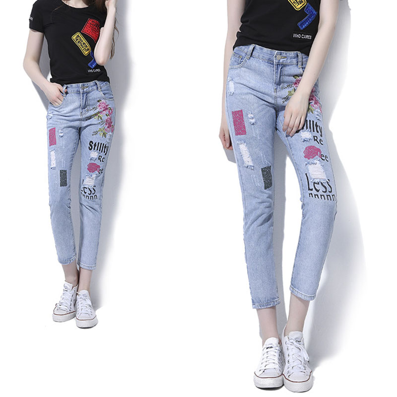 2017 Fashion Clothes Women Straight Denim Pants High Waist Print Embroidery Hole Washed Denim Trousers Female Slim Pencil Jeans new fashion suspender jeans overalls trousers denim female straight dark blue washed women pants jumpersuit rompers