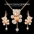 Lovely!!! Rose Gold Plated Cute Small Bear Design Champagne Heart Shape Zirconia Rhinestone Jewelry Sets Necklace/Earrings
