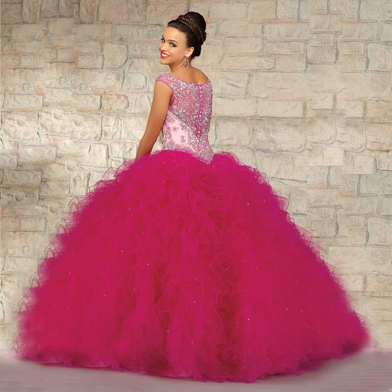 dc1077b81b 2016 nuevo estilo De moda Organza del vestido De bola largo ...