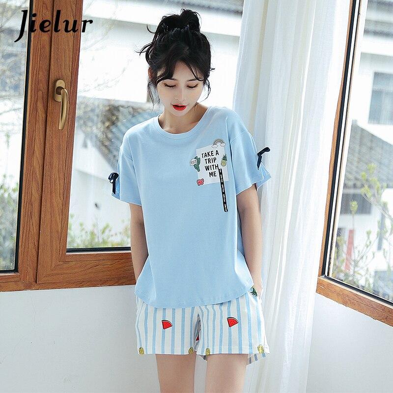 Jielur Rainbow Print Female T-shirt Pockets Bow   Pajama     Sets   Blue Short Sleeve Top Shorts Kawaii Casual Home Suit M-XXL Dropship