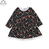 Spring Girls Clothes Long Sleeve Football Pattern Sport Girls Dress Fashion Football Season Girls Outfit With
