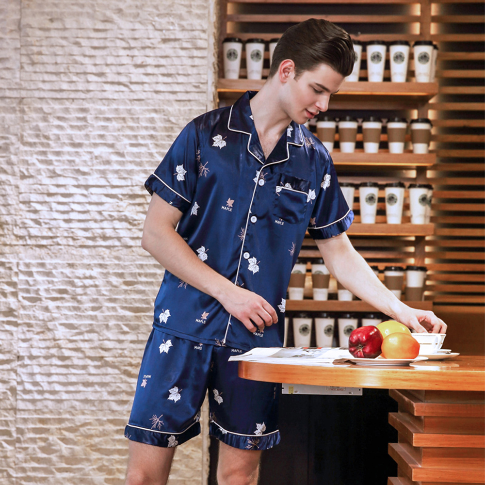 Mens pyjamas short-sleeved shorts summer thin cardigan spring and summer home wear suit