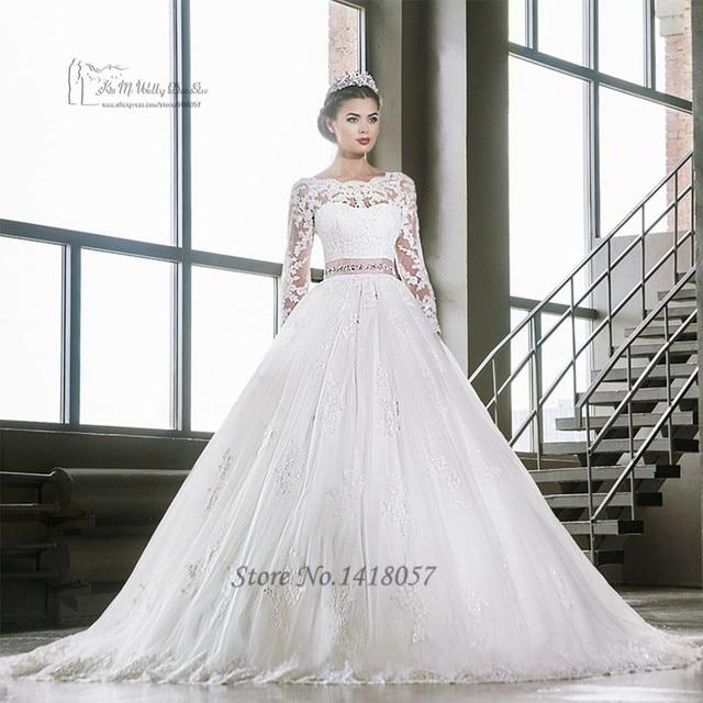 9351cec285a8b Elegant Long Sleeve Lace Wedding Dress Pink Sash White Ball Gown Bridal  Dresses Wedding Gowns Scoop Vestido de Noiva Manga Longa
