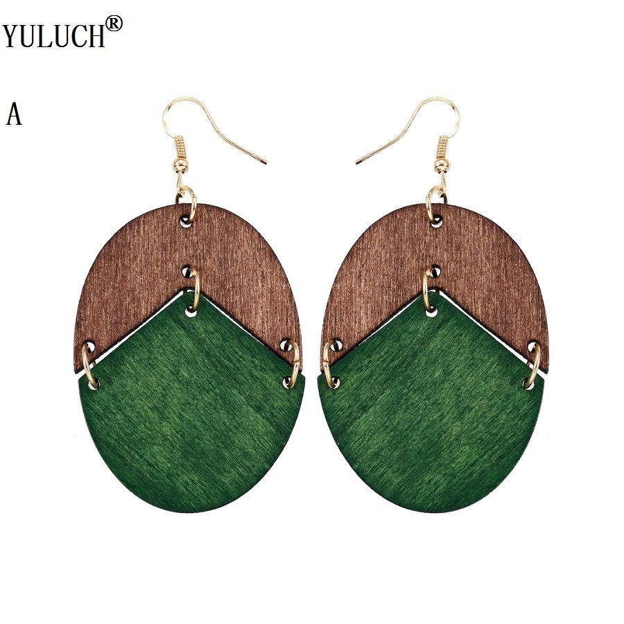 YULUCH 18 New Design Natural Wooden Earrings Two Colors Oval Wooden Earrings DIY Gold Hook Earrings For Woman Girls Jewelry 2