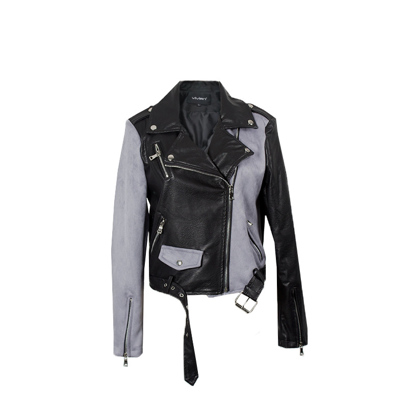 England hit color pu   leather   jackets female was thin locomotive   leather   jackets Кожаная одежда with belt wq2141 wholesale