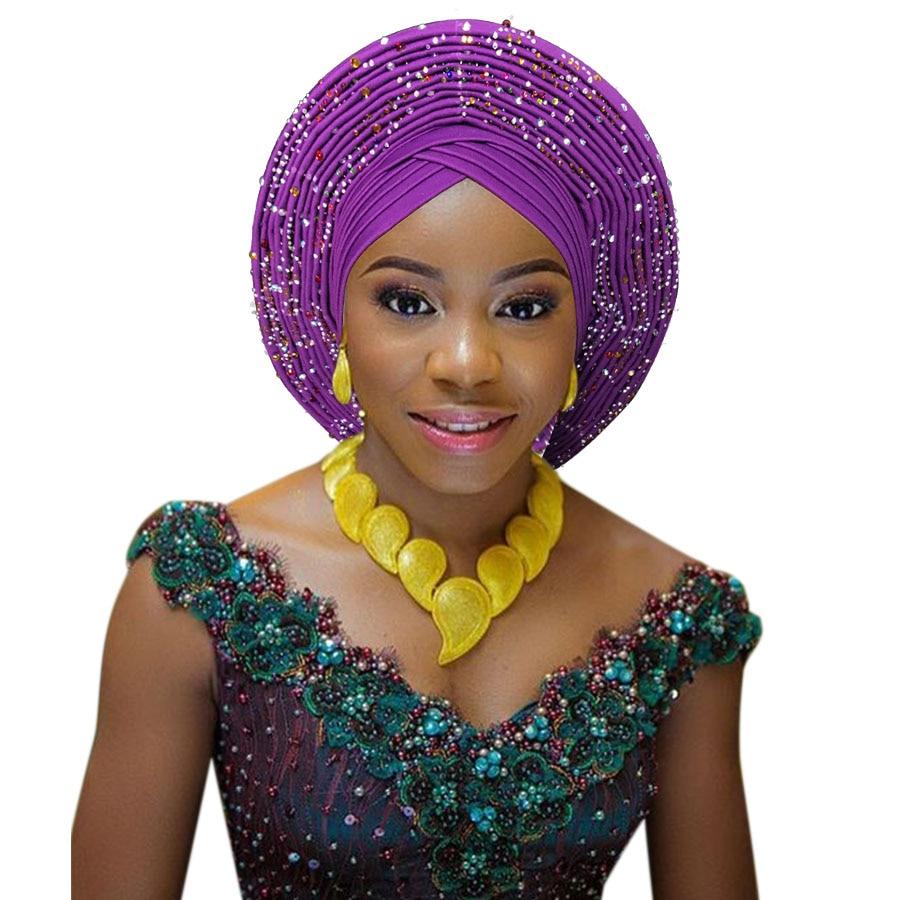 2018 New african aso oke cotton headtie nigerian gele headtie already made auto hele turban cap aso ebi big brim gele (4)