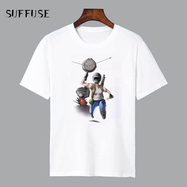 f0e38632 Game PUBG Design Funny T Shirt Cartoon Characters Shirts Cool Male Top Tee