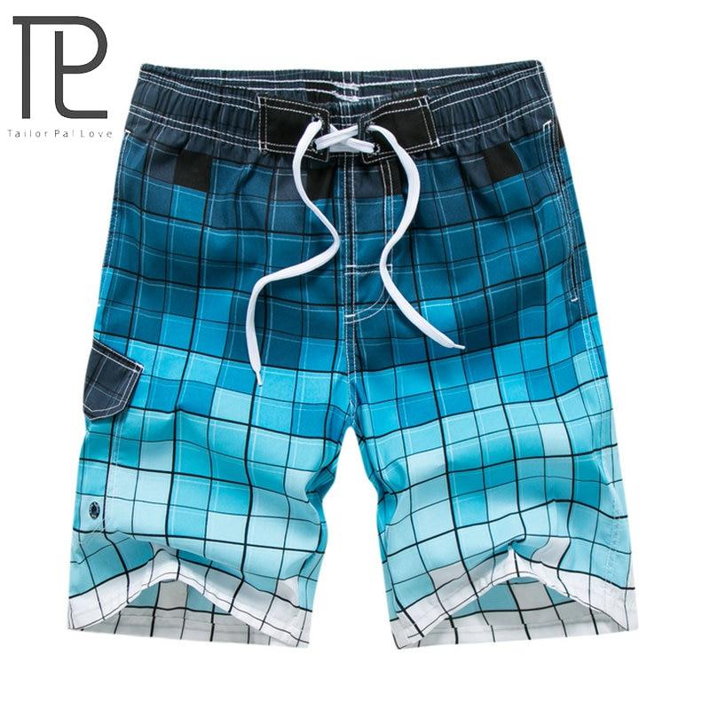 Tailor Pal Love Brand 2018 Summer Hot Plaid   Board     Shorts   Men Casual Mens Beach   Shorts