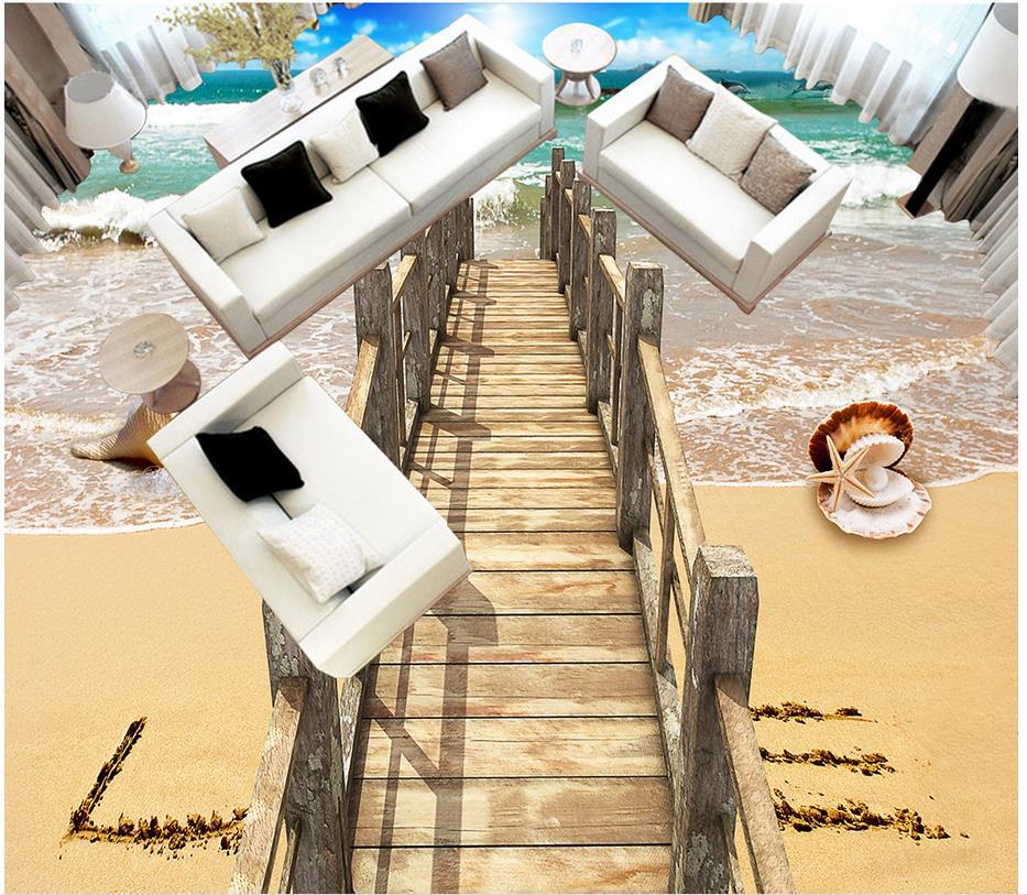 Custom Photo Floor Wallpaper 3D Stereoscopic 3D sea floor bridge 3D Mural PVC Wallpaper Self-adhesion Floor Wallpaer custom photo waterproof floor wallpaper sea ice to crack the bathroom 3d mural pvc wallpaper self adhesion floor wallpaer