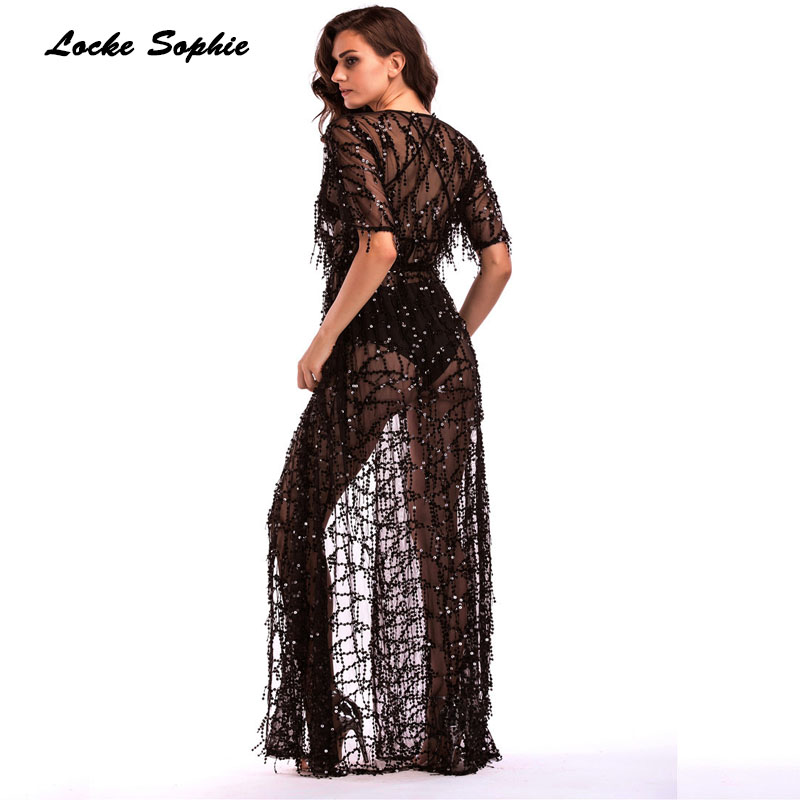 1pcs High waist Ladies Plus size Sexy Cardigan dresses 2019 Autumn mesh Sequins Splicing perspective Dress women 39 s Skinny Dress in Dresses from Women 39 s Clothing