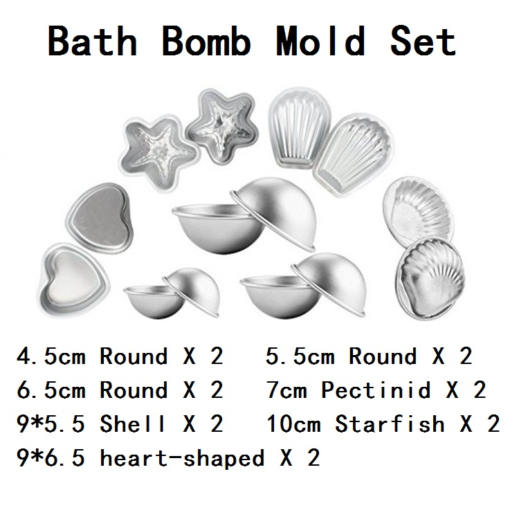 7 Pairs Bath Bomb Mold Bath Bomb Ball Maker Handmade  Bath Explosion Ball Mould Manual Soap Heart-shaped Round Starfish M2042
