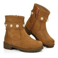 35f627cf8cce4 Mudipanda bottes chaudes enfants chaussures d hiver filles fourrure en cuir  en peluche semelle perle Cowboy Grils bottes de neig.