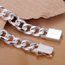 """MEEKCAT Men's Jewelry 925 stamped silver plated 10mm chains 8"""" 21CM bracelet bangle Pulseiras de Prata male modle Bijoux"""