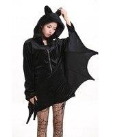 2017 Nowa Wersja Hot sprzedaż Moda Kobiet Vampire Bat man Cosplay Costume czarny dzikie body kostium Halloween party