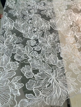 African French Lace Fabric High Quality SYJ-1727 Tulle Lace with sequins Fabric For Wedding
