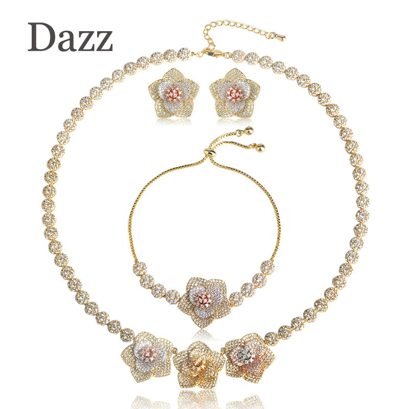 Dazz 2018 Trendy Copper Jewelry Sets Cubic Zircons Three Tones Color Flower Necklace Bracelet Earrings Set Wedding Accessories цена