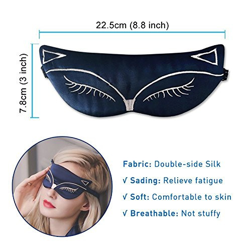 Silk Sleep Eye Mask, Double-Side Smoothing Mulberry Silk Eyeshade, Adjustable Strap,Sexy Fox Cat for Travel, Relax, Nap,Fashionable Women,Men02