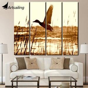 4 шт. печать закат птица пастбища пейзаж Винтаж Холст Картина домашний декор художественное произведение в рамке плакаты Бесплатная достав...