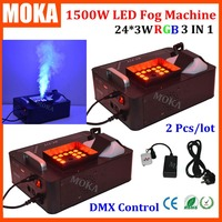 2pcs/lot New Powerful 1500W DMX Led Smoke Machine with Wireless Remote LED Fog Effects For Party Club Halloween decorations