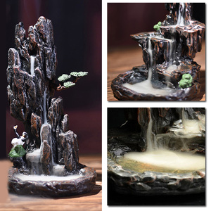 Image 3 - 1pc new Resin Mountain Shape Smoke Waterfall Backflow Incense Burner Censer Holder Decor high quality suitable for teahouse