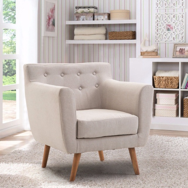 Giantex Living Room Arm Chair Tufted Back Fabric Upholstered Accent Modern Single Sofa Wood Legs