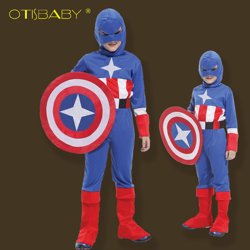 Free Shipping Halloween Party Costumes The Avengers Children's Clothing Role-playing Kids Captain America Cosplay Custome free shipping dhl high quality 2 colors kids gougou senta fancy dress lycra suit halloween zentai party cosplay custome kc2051