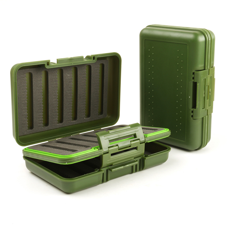 Waterproof Portable 149*96*44mm Plastic Fly Fishing Boxs Double Sided Foam Fly Boxes Tackle Case Dry Flies Fishing Fly Box Green|Fishing Tackle Boxes| |  - title=