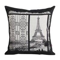 Deux Face Jacquard Paris Tour Eiffel Canapé Coussin Couvre Parfait Throw Décoratif Taies D'oreiller En Gros Maison réchauffement Cadeau