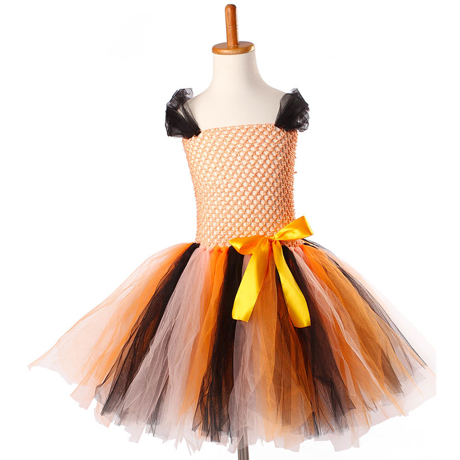 Girls Halloween Carnival Party Tutu Dress Kids Evil Witch Costume Photo Prop with Witch Hat  (12)