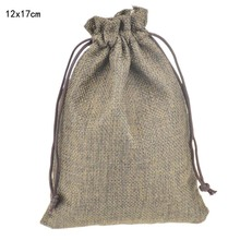 12x17cm 50pcs/lot Brown Custom Jute Drawstring Bag with Pouch Sack Favor Gift jewelry package bag for Weddings Parties